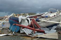 This image made from video shows damage from Hurricane Irma in St. Thomas, U.S. Virgin Islands, Thursday, Sept. 7, 2017. Hurricane Irma weakened slightly Thursday with sustained winds of 175 mph, according to the National Hurricane Center. The storm boasted 185 mph winds for a more than 24-hour period, making it the strongest storm ever recorded in the Atlantic Ocean. The storm was expected to arrive in Cuba by Friday. It could hit the Florida mainland by late Saturday, according to hurricane center models. (AP Photo/Ian Brown)
