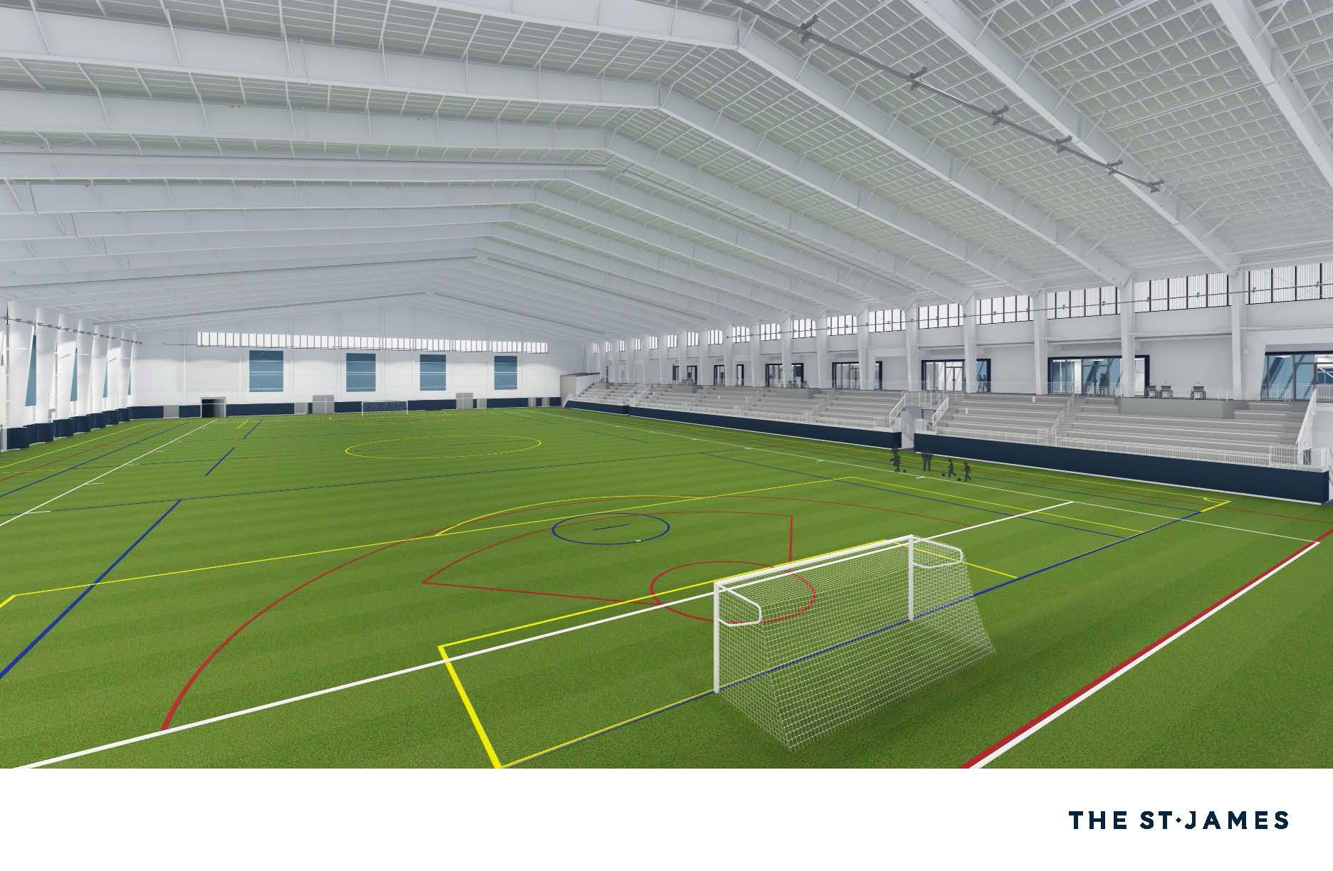 The complex includes a FIFA regulation-sized indoor soccer field. (Courtesy St. James Sports Complex)