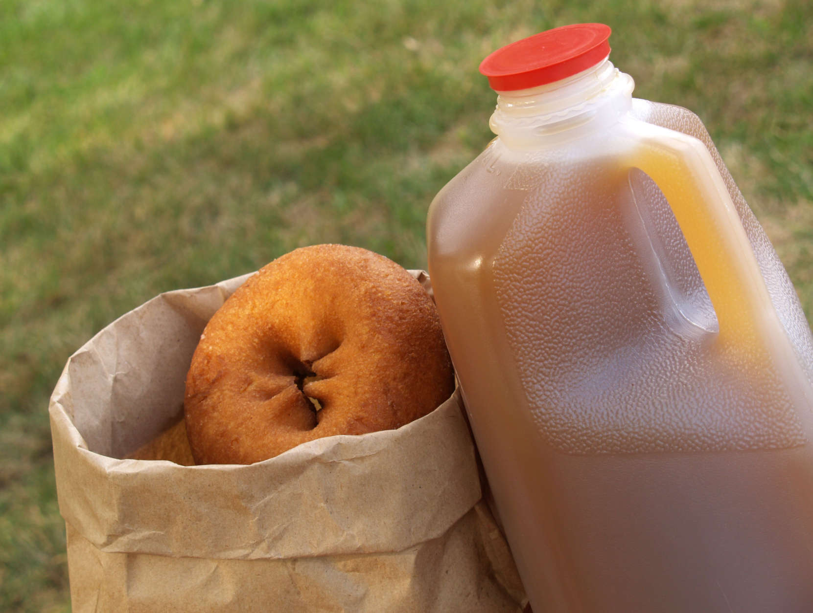 a half-gallon of apple cider beside a bag of donuts