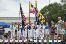 The US NavyLeague Cadet Corps Color Guard presides over the National Anthem during the opening ceremony for the 2016 9/11 Heroes Run in Annapolis. (Courtesy, Harrison Hart)