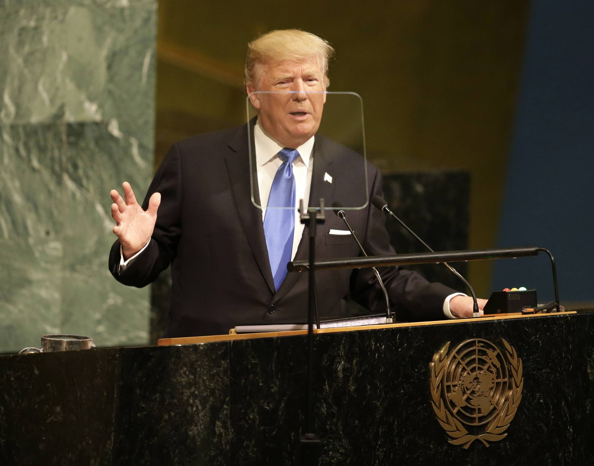 Created At 2017 09 20 1216 Pop Filter Layer Ganda Mikrofon Bop United Nations Ap President Donald Trump Has Vowed To Totally Destroy North Korea If The U S Is Forced Defend Itself Or Its Allies Against