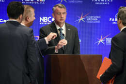 MCLEAN, VA - SEPTEMBER 19: Republican candidate Ed Gillespie, center, during his walk-through for tonight's Gubernatorial debate between himself and Lt. Gov. Ralph Northam, Democrat, on September, 19, 2017 in McLean, VA. (Pool Photo by Bill O'Leary/The Washington Post)