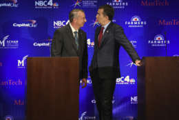 MCLEAN, VA - SEPTEMBER 19: Republican candidate Ed Gillespie, left, and Lt. Gov. Ralph Northam, Democrat, greet each other before the start of the Gubernatorial debate on September, 19, 2017 in McLean, VA. (Pool Photo by Bill O'Leary/The Washington Post)