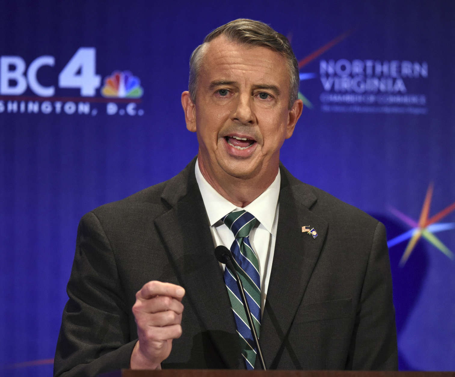 MCLEAN, VA - SEPTEMBER 19: Republican candidate Ed Gillespie makes his opening statement during his debate with Lt. Gov. Ralph Northam, Democrat, on September, 19, 2017 in McLean, VA. (Pool Photo by Bill O'Leary/The Washington Post)