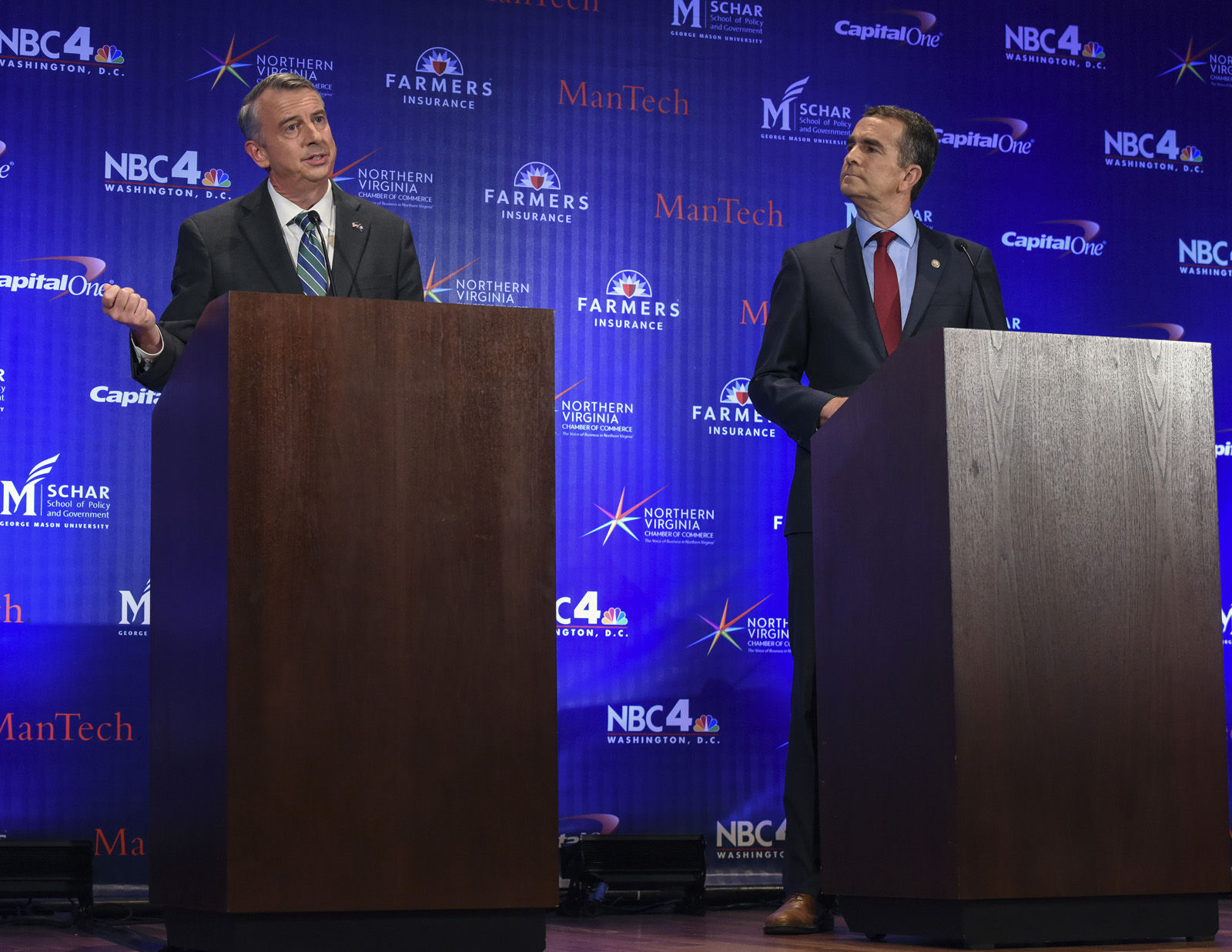 MCLEAN, VA - SEPTEMBER 19: Gubernatorial debate between Republican candidate Ed Gillespie, left, and Lt. Gov. Ralph Northam, Democrat, on September, 19, 2017 in McLean, VA. (Pool Photo by Bill O'Leary/The Washington Post)