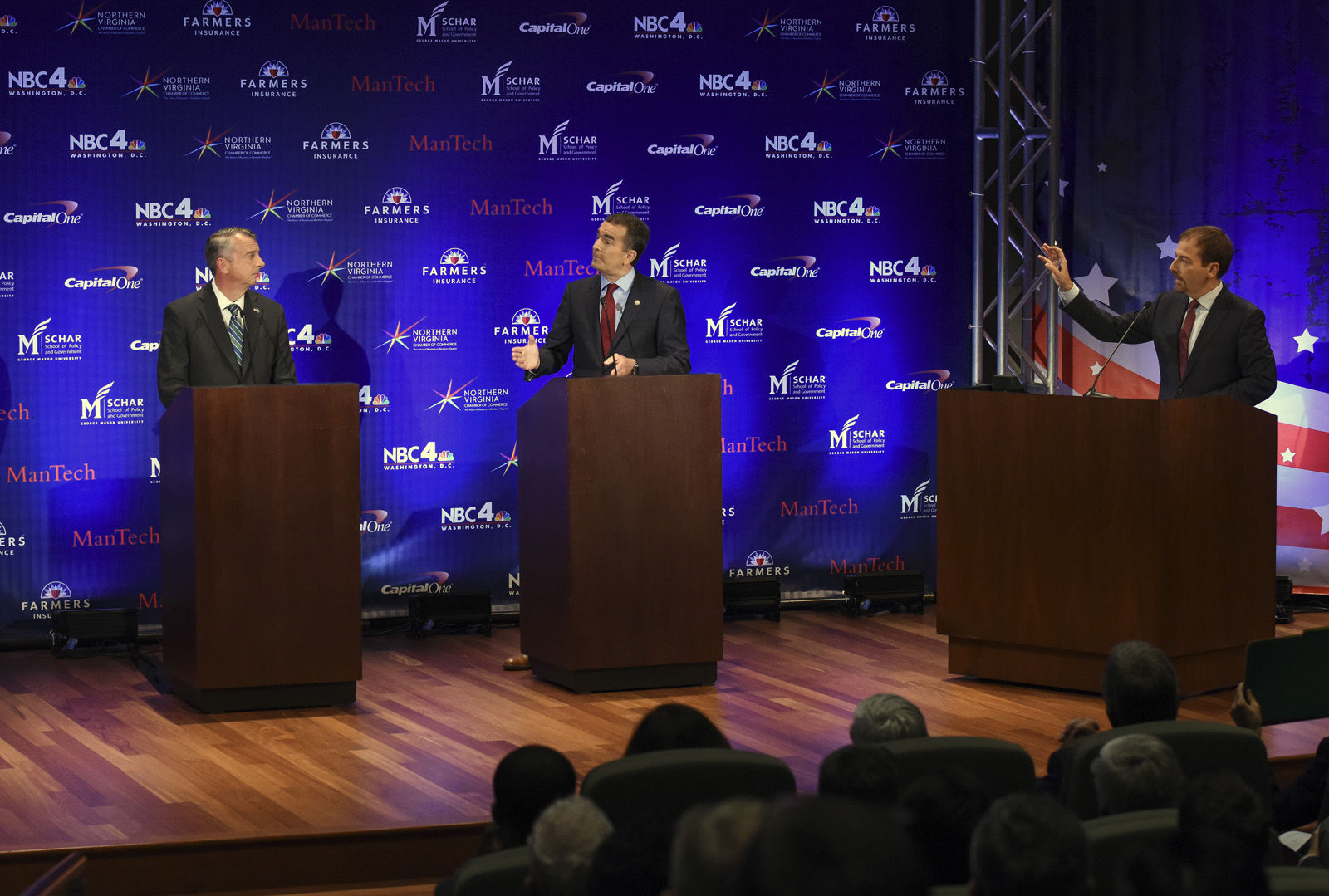 MCLEAN, VA - SEPTEMBER 19: Gubernatorial debate between Republican candidate Ed Gillespie, left, and Lt. Gov. Ralph Northam, Democrat, moderated by NBC newsman Chuck Todd, right, on September, 19, 2017 in McLean, VA. (Pool Photo by Bill O'Leary/The Washington Post)
