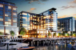 This image shows a view of the VIO condo building, one of two condominiums constructed as part of Phase 1 of The Wharf. (Courtesy PN Hoffman)