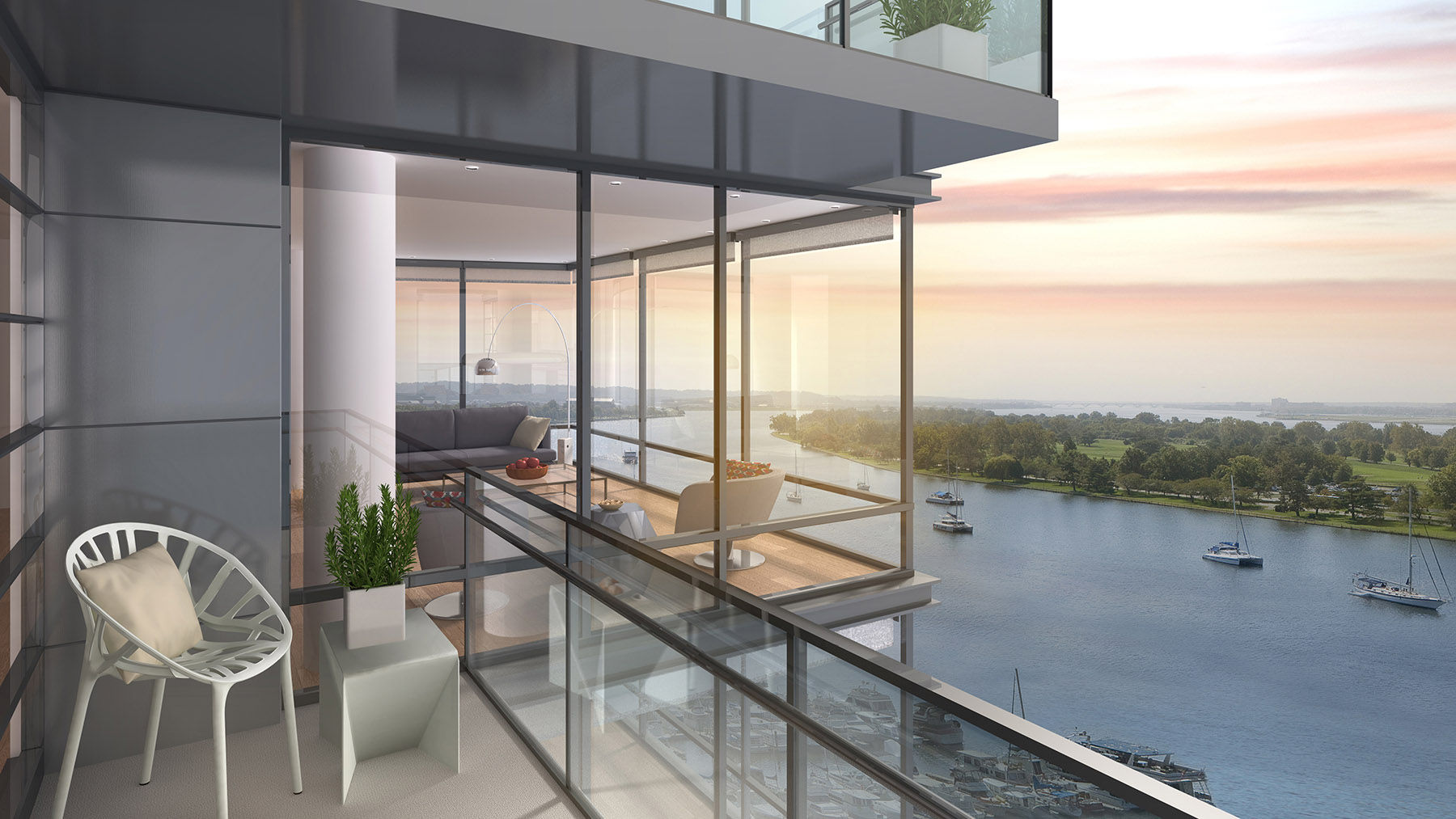 This artists rendering shows the view from a balcony in the VIO condo building, one of two condominiums on site of The Wharf, the mile-long redevelopment of the Southwest Waterfront, set for its grand opening next month. The property also features two apartment buildings providing 900 housing units. An estimated 2,000 people will live in the complex. (Courtesy PN Hoffman)