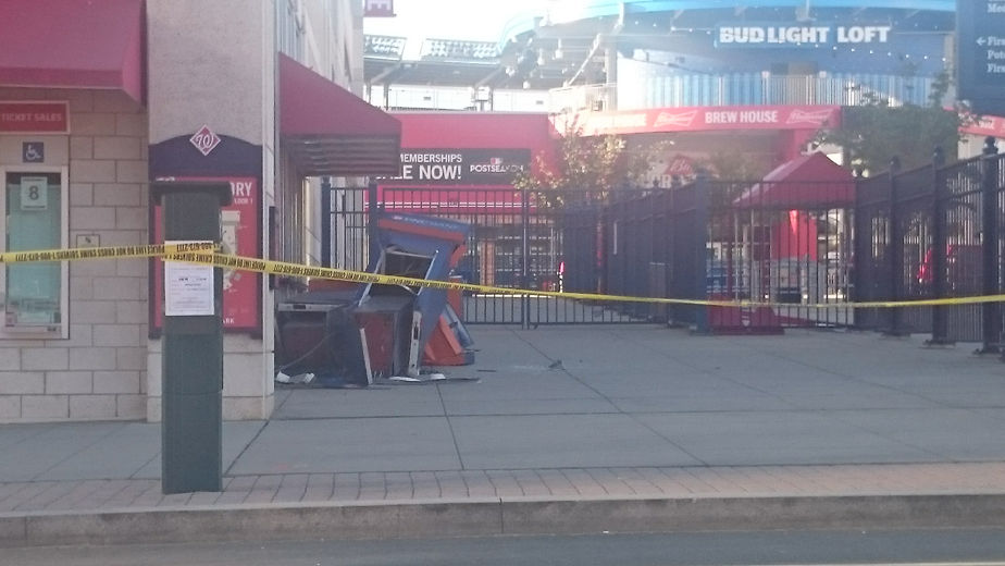 Photo shows an ATM thieves tried to steal at Nationals Park