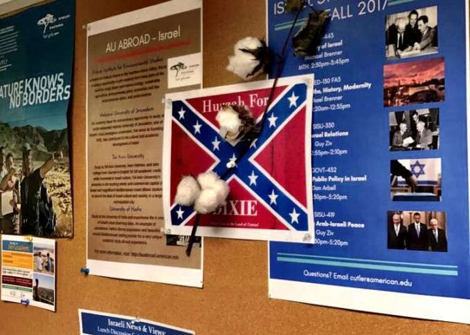 Confederate Flag Posters With Cotton Attached Found Hanging In American University