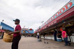 The Southwest Waterfront seafood market, Friday, June 19, 2015, in Washington. (AP Photo/Andrew Harnik)
