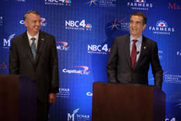 Ed Gillespie and Lt. Gov. Ralph Northam stand together prior to their second debate in McLean, Virginia on Sept. 19, 2017. (Pool Photo by Bonnie Jo Mount/The Washington Post)