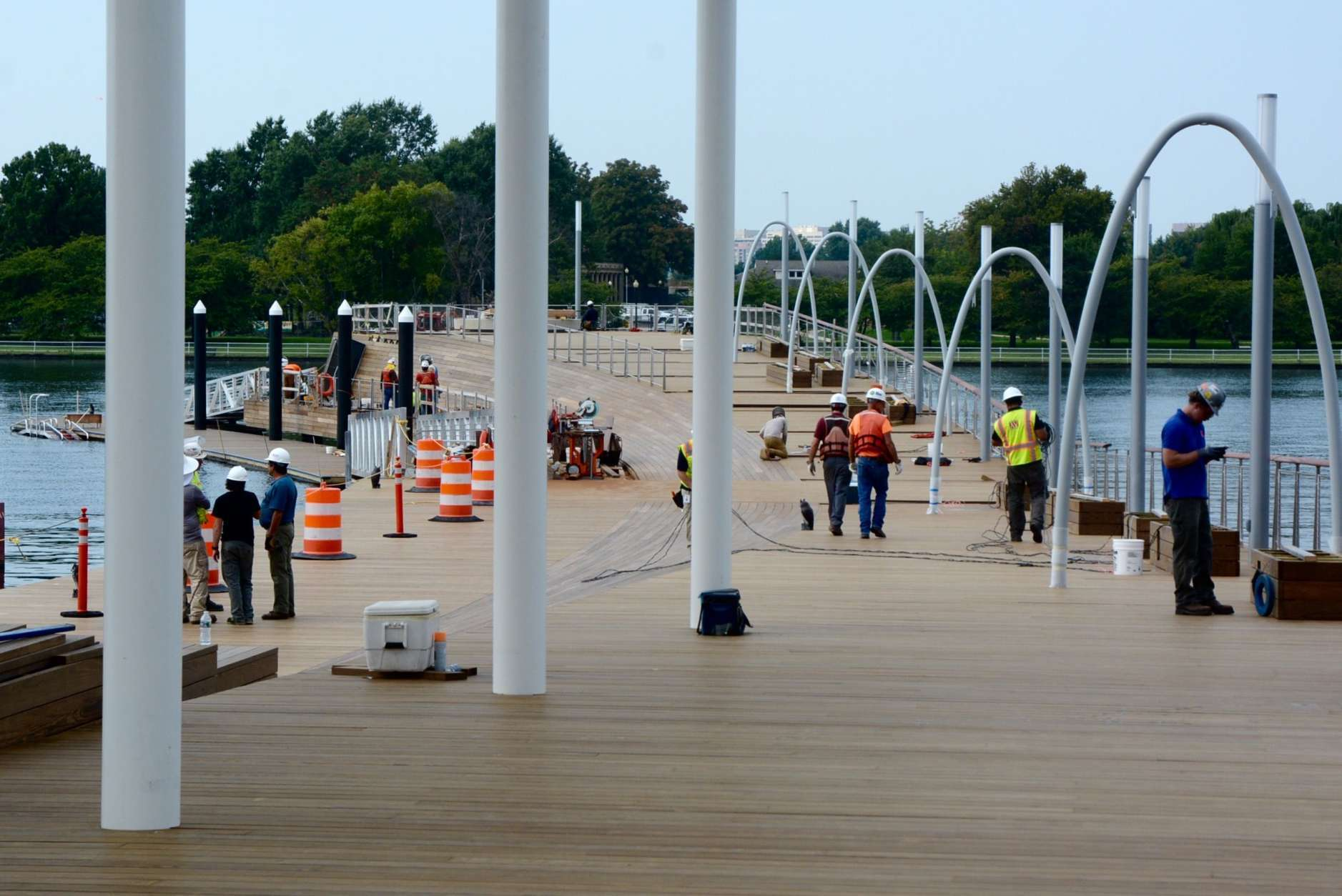 From the Wharf, the Seventh Street Pier extends over 400 feet into Washington Channel. The curved gangway will be adorned with swings, benches and floating wetland features. (WTOP/Dave Dildine)
