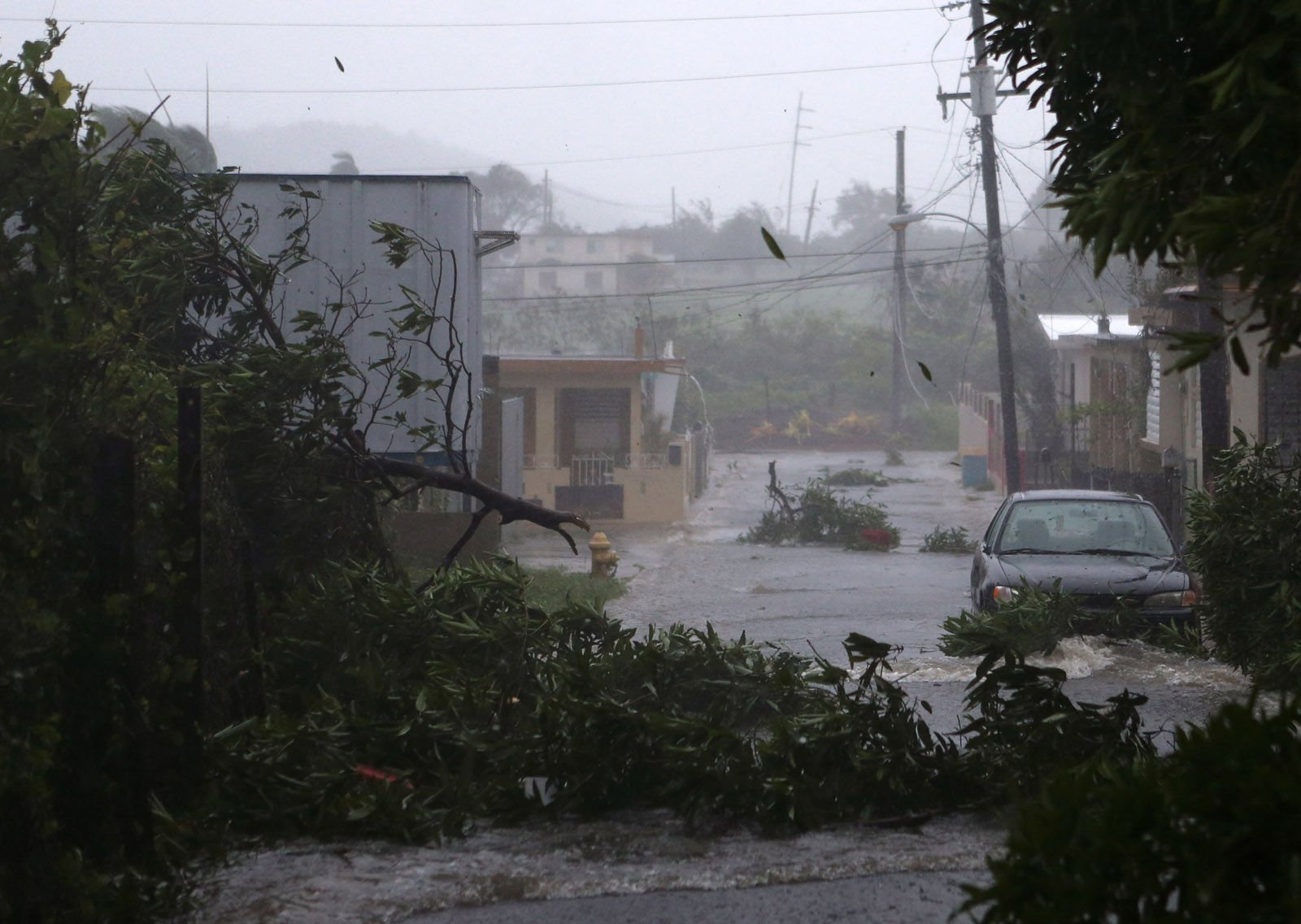 FAJARDO, PUERTO RICO - SEPTEMBER 06: A street is flooded during the passing of Hurricane Irma on September 6, 2017 in Fajardo, Puerto Rico. The category 5 storm is expected to pass over Puerto Rico and the Virgin Islands today, and make landfall in Florida by the weekend. (Photo by Jose Jimenez/Getty Images)