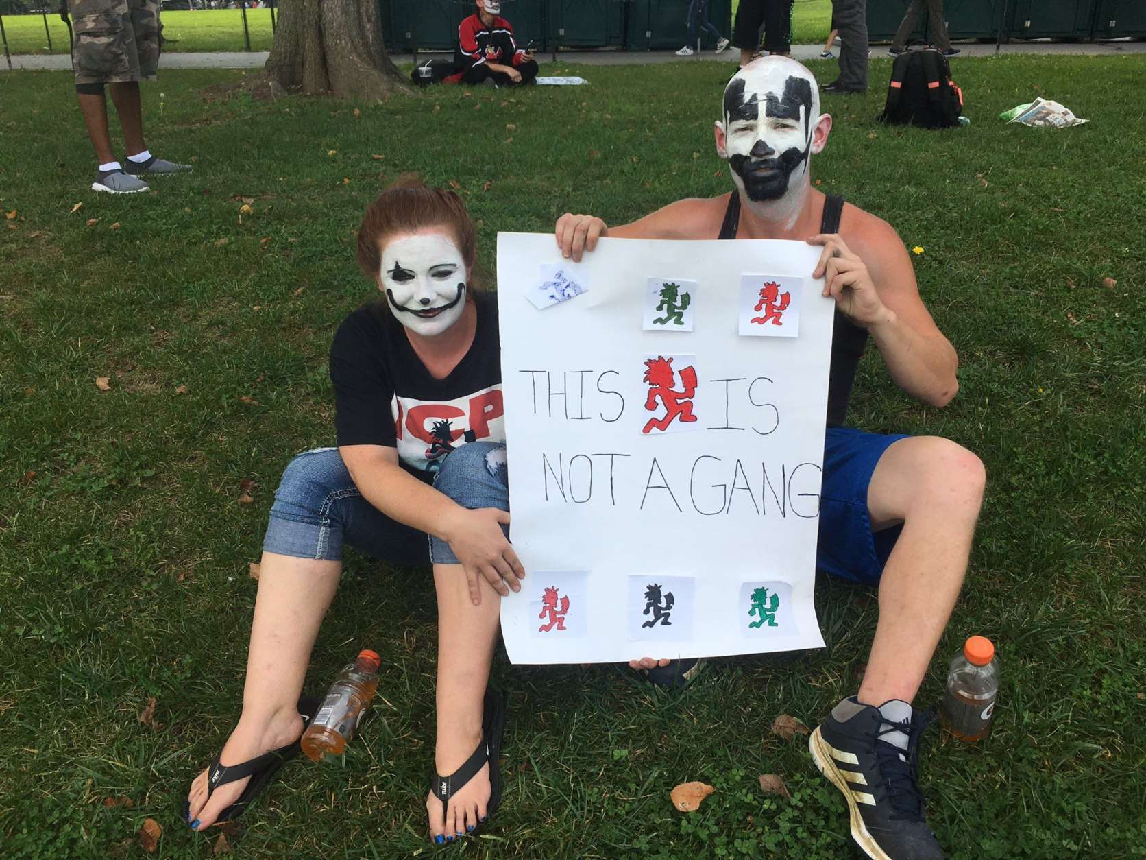 Fans of a the band @icp gather at Lincoln Memorial for rally and march against the FBI's classification of them as a gang. (WTOP/Mike Murillo)