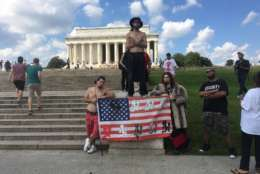 <p>Fans of a the band Insane Clown Posse gather at Lincoln Memorial Sept. 16, 2017, for rally and march against the FBI's classification of them as a gang. (WTOP/Mike Murillo)</p>