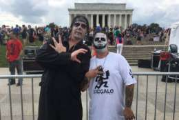 """<p>Juggalos Tom and Hercules at a Sept. 16, 2017 rally say just because they like a band doesn't make them """"gangbangers."""" (WTOP/Mike Murillo)</p>"""