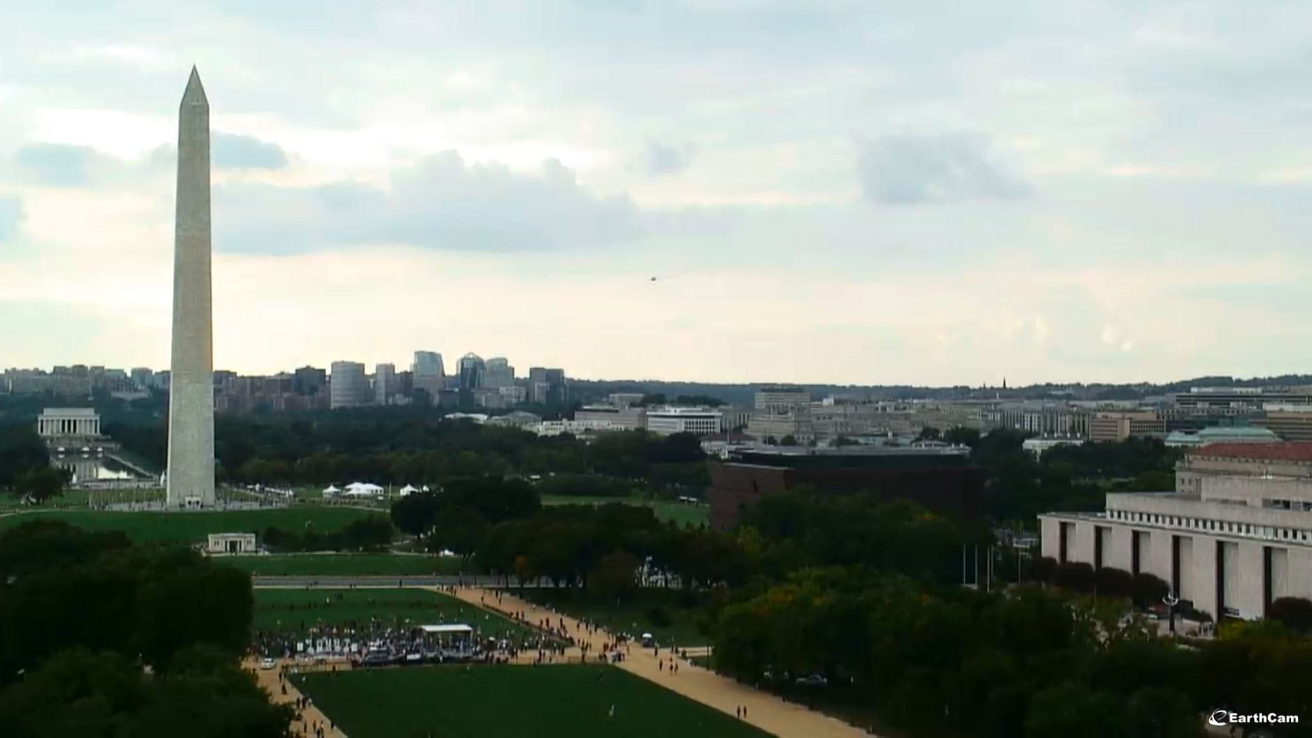 A view of the National Mall Saturday, Sept. 16, 2017, during the rally. (Courtesy EarthCam)
