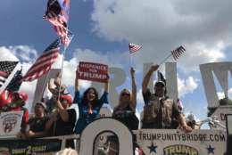 "The rally included a float driven to the center of the National Mall, festooned with patriotic symbols, bearing ""Trump"" in giant, capital letters. (WTOP/Dick Uliano)"