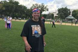 """Trump is for the people,"" said Moe Delk, who said he is a former gang member from Chicago who now lives and works in Milwaukee. ""We're just people who love America. We're about America first."" (WTOP/Dick Uliano)"