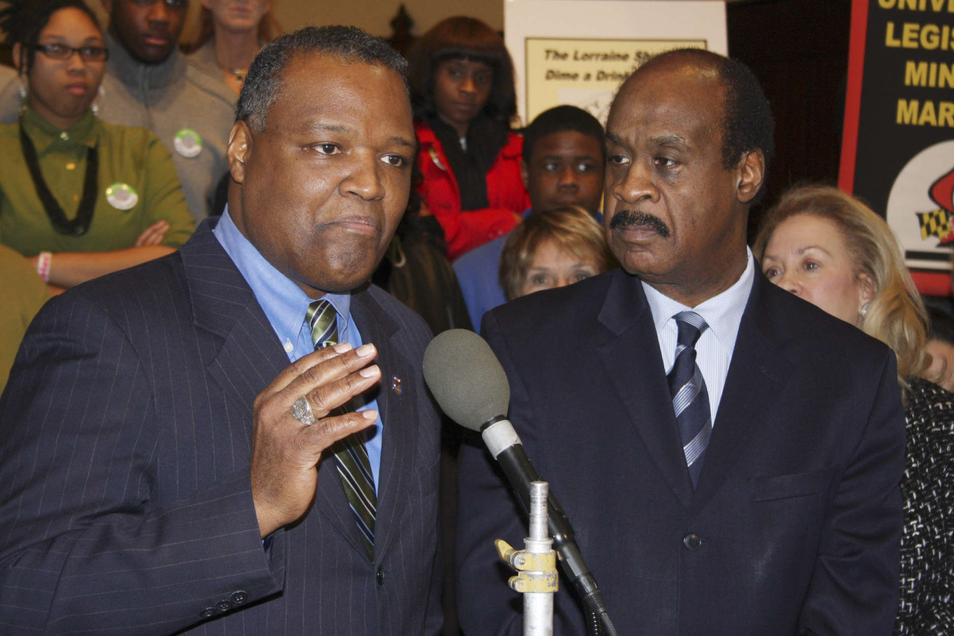 Prince George's County Executive Rushern Baker, left, and Montgomery County Executive Ike Leggett rally on Wednesday, Feb. 16, 2011 in Annapolis, Md., to express their support to raise Maryland's alcohol tax to raise about $215 million a year to help initiatives for health and the developmentally disabled. State senators from Baltimore also gathered at St. Anne's Episcopal Church to express their support.   (AP Photo/Brian Witte)