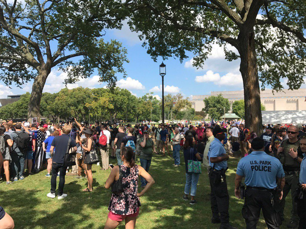 <p>People gather for a pro-Trump rally at the National Mall Sept. 16, 2017. (WTOP/Dick Uliano)</p>