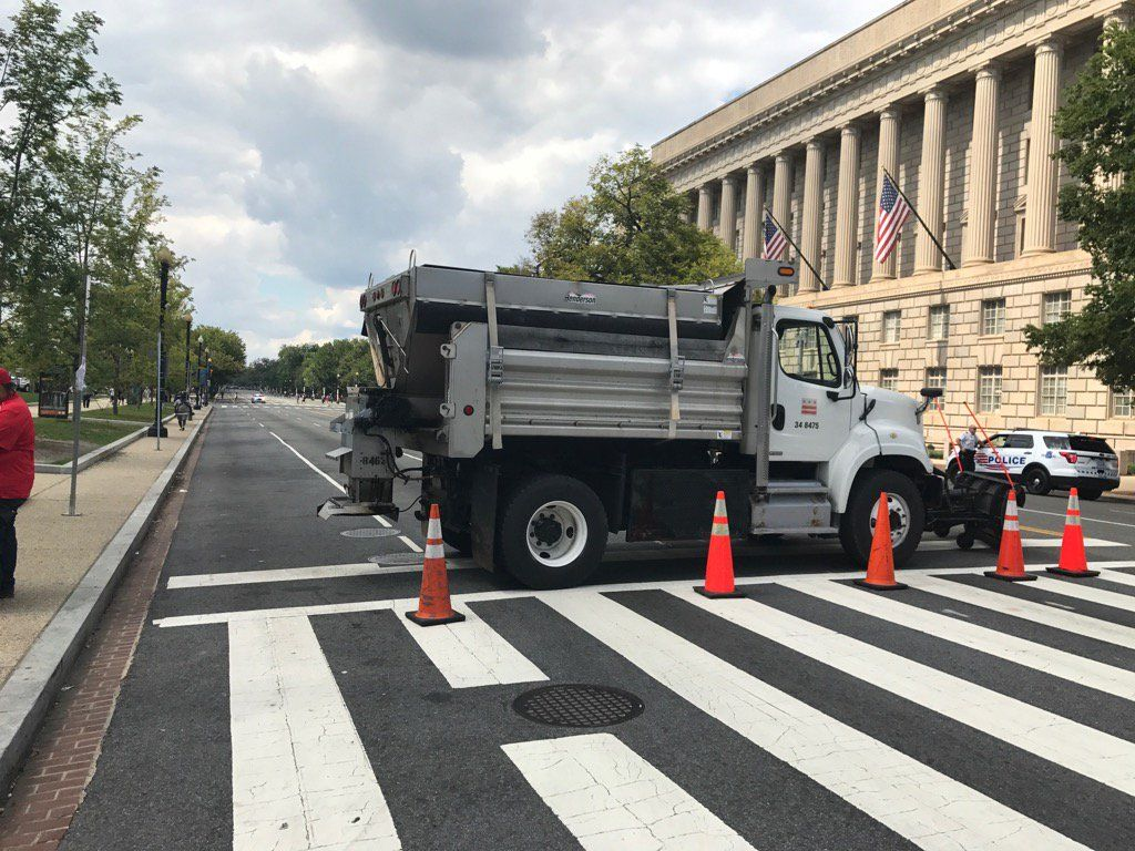 Vehicle barriers seal off the National Mall on Sept. 16, 2017. WTOP/Dick Uliano)