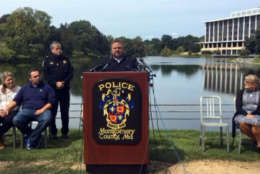 Tyler Tessier speaks at a Sept. 11 news conference. (Courtesy Montgomery County Police)