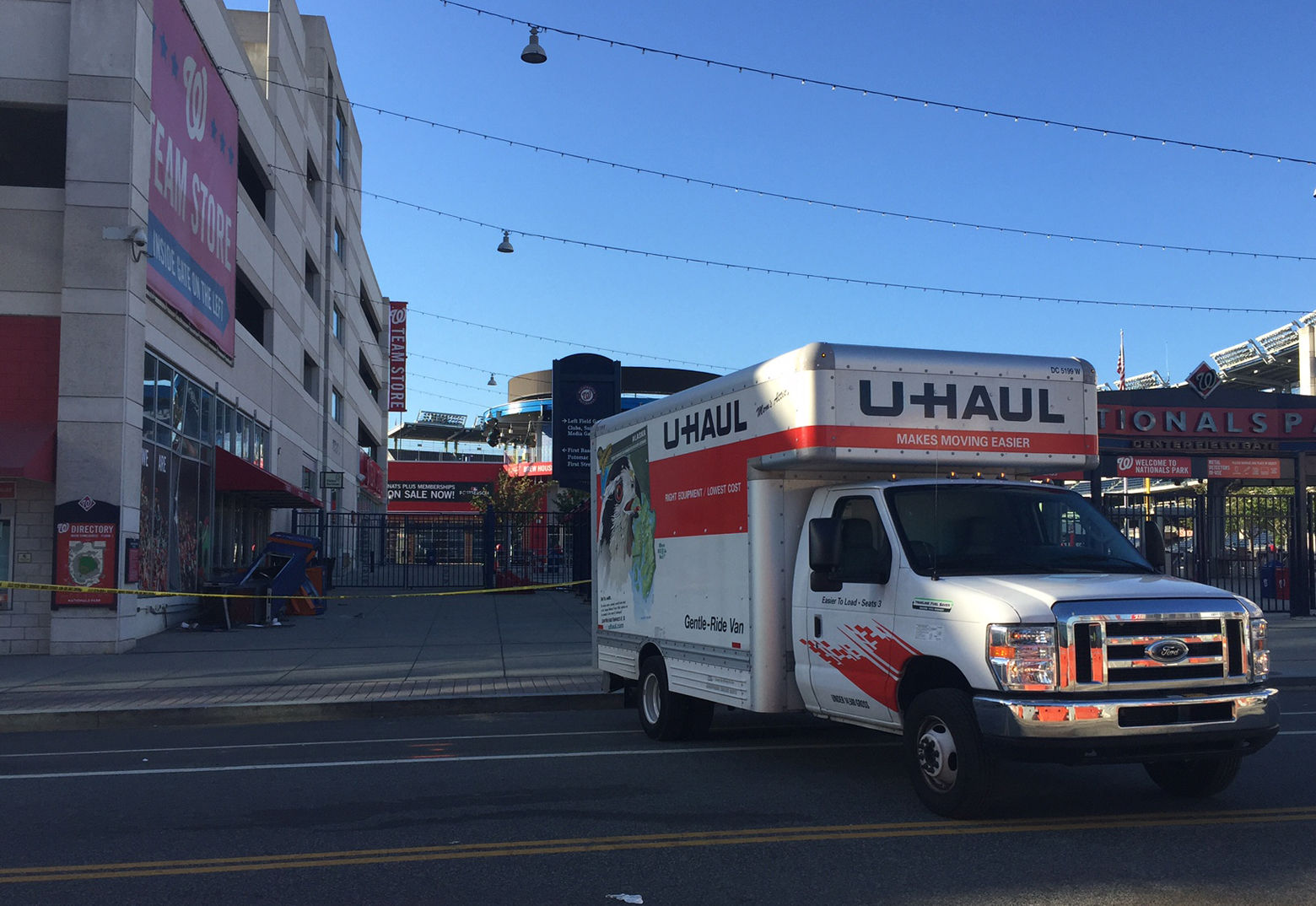Photo shows a U-Haul moving truck in front of Nationals Stadium