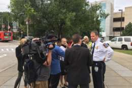 Some 20 yards from the Amalgamated Transit Union local 689 news conference, Metro Police Chief Ron Pavlik holds his own news conference Friday at the Minnesota Avenue station. (WTOP/Rich Johnson)