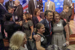 WASHINGTON , DC - SEPTEMBER 19: Gubernatorial candidate Lt. Gov. Ralph Northam mingles following a debate with Ed Gillespie in Washington, DC on September 19, 2017. (Pool Photo by Bonnie Jo Mount/The Washington Post)