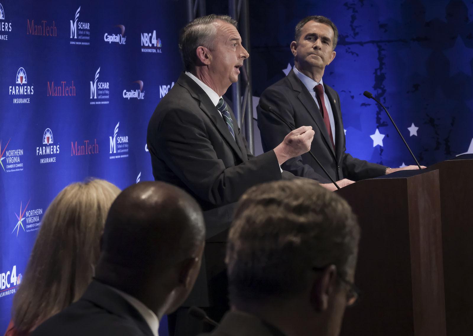 WASHINGTON , DC - SEPTEMBER 19: Gubernatorial debate between Ed Gillespie and Lt. Gov. Ralph Northam in Washington , DC on September 19, 2017. (Pool Photo by Bonnie Jo Mount/The Washington Post)