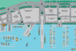 A map of the initial phase of The Warf, the redevelopment of a mile of the Southwest Waterfront is planning a grand opening in mid October. (Courtesy PN Hoffman)