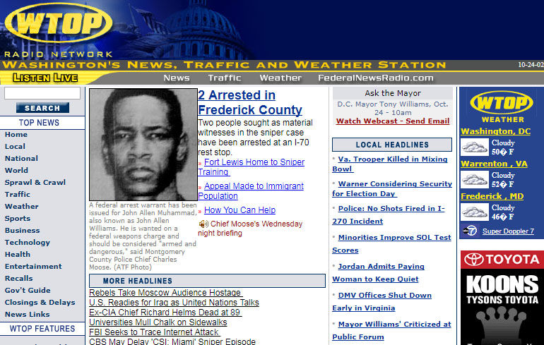 The WTOP.com home page on Oct. 24, 2002 -- the day John Allen Muhammad and Lee Boyd Malvo were arrested after a three-week shooting spree that terrified the D.C. area. (Courtesy Wayback Machine)