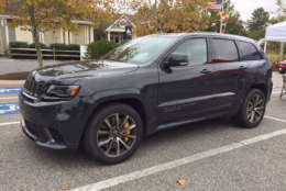 The Grand Cherokee Trackhawk is given away by its yellow brake calipers and exhaust rumble. (WTOP/John Aaron)