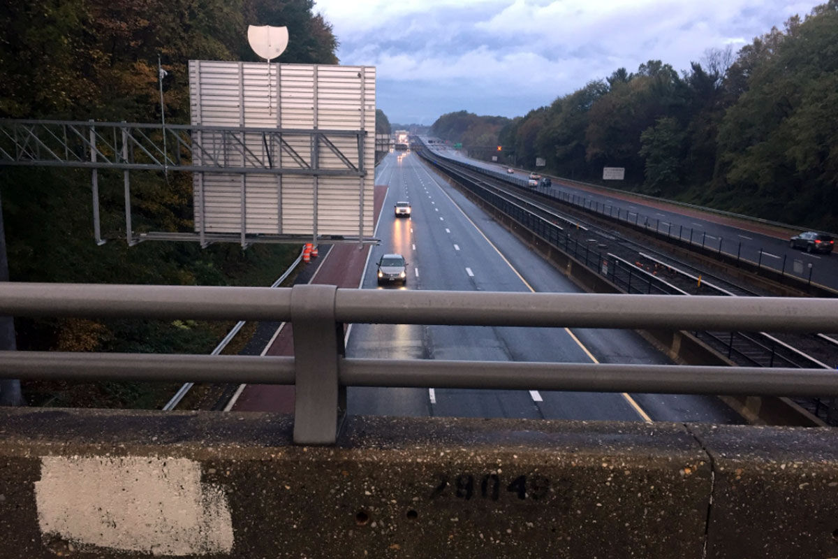 The overpass where a driver was killed by the impact of a falling boy. (WTOP/John Domen)