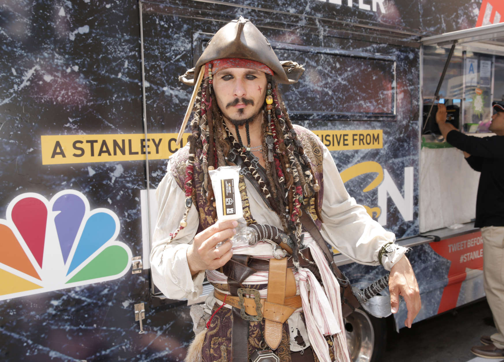Captain Jack Sparrow character enjoys an NBC Sports Network's Home Ice Pop made from the ice of the LA Kings Rink at Hollywood and Highland on Saturday, May 10, 2014, in Los Angeles. (Photo by Todd Williamson/Invision for NBC Sports/AP Images)