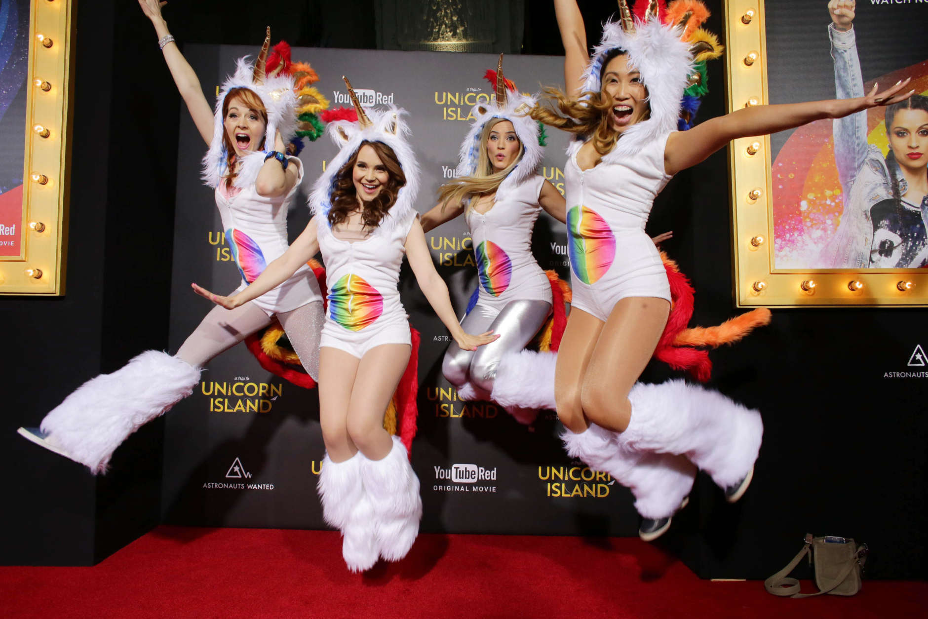 Lindsey Stirling, Rosanna Pansino, Justine Ezarik and Cassey Ho seen at YouTube star Lilly Singh debuts the World Premiere of 'A Trip to Unicorn Island' at TCL Chinese Theatre on Wednesday, Feb. 10, 2016, in Hollywood, CA. (Photo by Eric Charbonneau/Invision for Astronauts Wanted/AP Images)