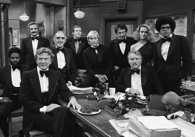 """Television star's from ABC's law enforcement theme shows gather on the set, Jan. 4, 1978 for the taping of ABC's Silver Anniversary Celebration in Los Angeles, Calif. The actors  from left to right: George Stanford Brown, """"The Rookies""""; Hal Linden, """"Barney Miller""""; Steve Forrest, """"Swat"""" Abe Vigoda, """"Fish""""; Paul Burke, """"Naked City""""; Dennis Cole, """"Felony Squad""""; Michael Cole, Peggy Lipton, Clarence Williams III, """"Mod Squad"""" and Howard Duff, """"Felony Squad."""" (AP Photo/Wally Fong)"""