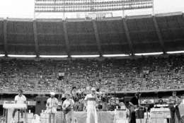 Beach Boys perform their opening number at RFK Stadium in Washingto, June 12, 1983. The Beach Boys held their concert after the Team America-Ft. Lauderdale Strikers soccer game. (AP Photo/Ira Schwarz)