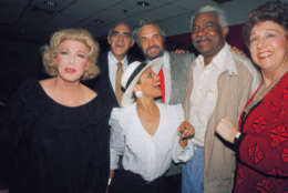 """Hal Linden, with beard, and Ossie Davis, second from right, are flanked by Broadway stars on Tuesday, Sept. 3, 1986 in New York at party celebrating their taking over the lead roles in Broadway comedy """"I'm Not Rappaport"""".  In foreground is Debbie Allen of """"Sweet Charity"""", who along with actor Abe Vigoda and Jean Stapleton, both of """"Arsenic and Old Lace"""", attended the party. Vigoda and Linden were stars of the TV series """"Barney Miller"""".  Woman at far left is unidentified. (AP Photo/Ed Bailey)"""