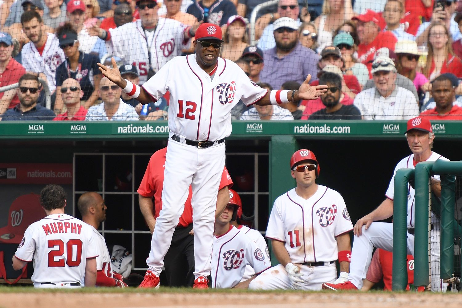 WASHINGTON, DC - JUNE 29:  manager Dusty Baker #12 of the Washington Nationals argues a pitch and is ejected in the sixth inning during a baseball game against the Chicago Cubs at Nationals Park on June 29, 2017 in Washington, DC.  (Photo by Mitchell Layton/Getty Images)