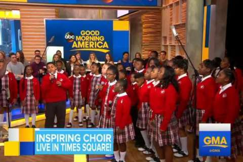 Baltimore middle school choir performs on GMA after viral video