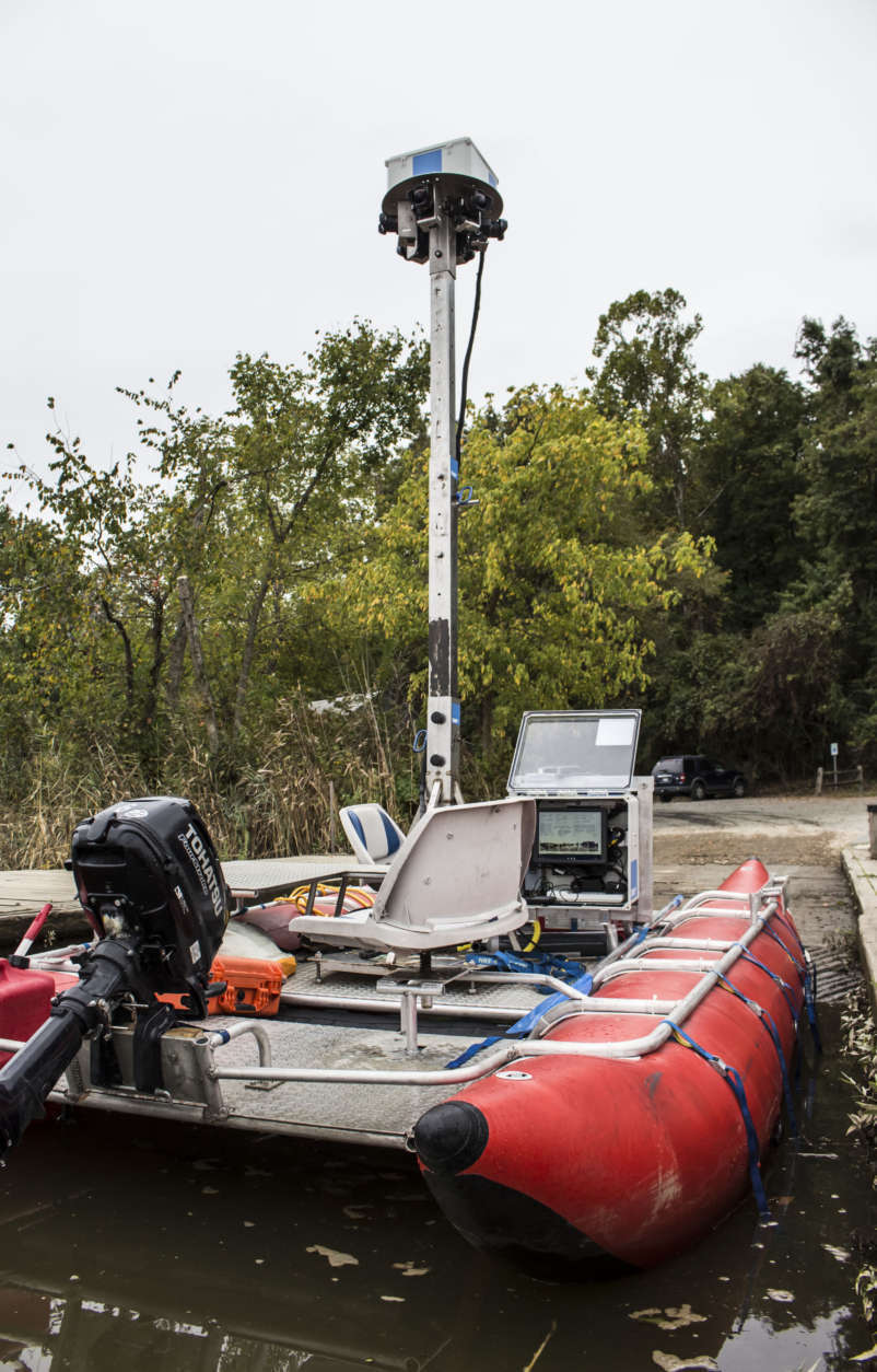 The river mapping boat Ryan Abrahamsen designed and built has an adjustable 13-foot camera tower. Terrain 360 was mapping the Patuxent River in partnership with the Chesapeake Conservancy, launching from Upper Marlboro, Maryland, Tuesday Sept. 26, 2017, to create virtual river tours. (Alex Mann/Capital News Service)