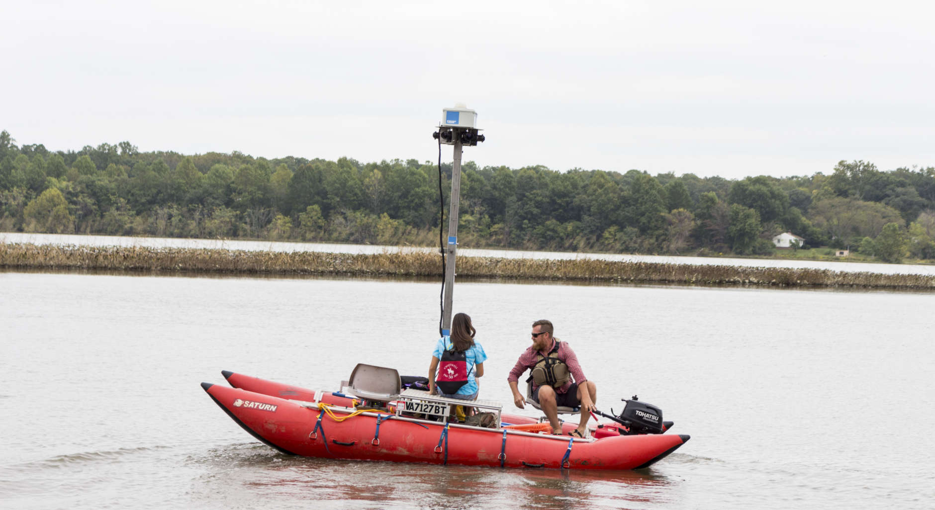 Terrain 360 founder Ryan Abrahamsen takes a reporter on his mapping boat, Tuesday Sept. 26, 2017, in Upper Marlboro, Maryland. Abrahamsen is mapping the Patuxent River in partnership with the Chesapeake Conservancy to create virtual river tours. (Alex Mann/Capital News Service)