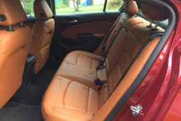 The seats on the loaded diesel model are handsome leather with rich-looking stitching that also carries over on the dash; looking upscale for compact. (WTOP/Mike Parris)