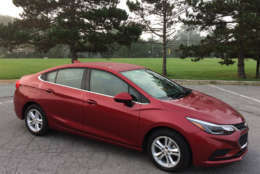 This is the second year for the redesigned Cruze and it's the most competitive compact sedan that General Mortors Co. has had in a long time. (WTOP/Mike Parris)