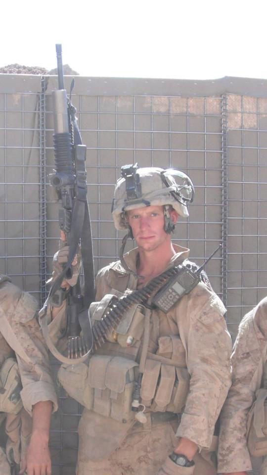 Photo of Vincent Carrano in Marjah, Afghanistan, in August 2010 before going on combat patrol. In his company of 40 Marines, seven were killed including five from his platoon. (Courtesy Vincent Carrano)