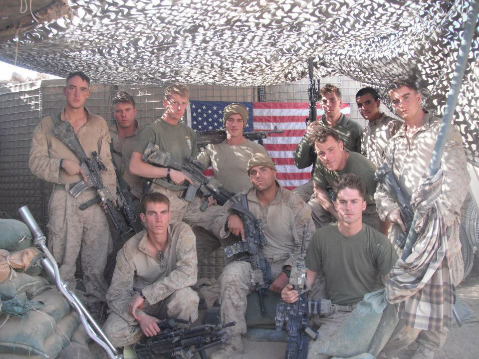 Photo of the 1st Squad, 3rd Platoon in October 2010 in Marjah, Afghanistan, at patrol base OP Charte named after Cpl. Phillip Charte, a team leader in the squad who was killed on Sept. 7, 2010. (Courtesy Vincent Carrano)