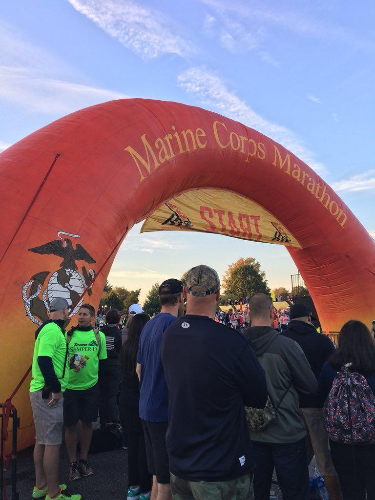 The starting line of the 42nd Marine Corps Marathon. (WTOP/Sarah Beth Hensley)